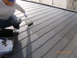 屋根 塗装上塗り3回目