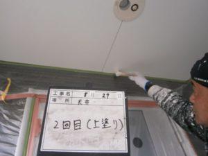 軒天井塗装2回目